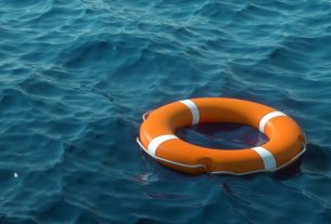 orange lifebuoy on the water the concept of help rescue drowning storm copy space 3d illustration 3d rendering 99433 3862